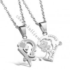 Stainless Steel White Kiss Puzzle Couple Necklace Set Korea Style Pendent on sale $30.99