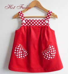 Jumper Dress, Red Pinwale Velvet, Sizes 6 months, 3 - this design would be cute with Minnie and mickey on the pockets or chicks or bunnies or sailboats, eInspiration for a Popover Sundress with Puppet Show shorts pocketsGirls Red Gingham Dress Baby G Baby Girl Frocks, Frocks For Girls, Kids Frocks, Little Girl Dresses, Girls Dresses, Baby Dresses, Baby Dress Design, Baby Girl Dress Patterns, Frock Design