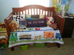 I used my sons crib as little sofa for the play room