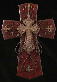 The Faith Collection Old World Multi Layered Red and Brown Cross 24""