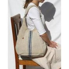 Antique Linen & Leather bag: An idea for that feed sack I've had in my stash for ages.