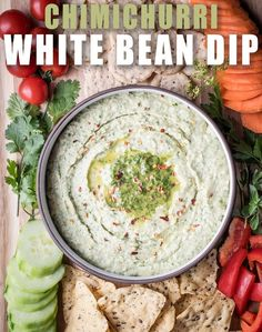 This chimichurri white bean dip is gluten-free and so delicious. It's packed with fresh herbs and flavor and perfect for parties!
