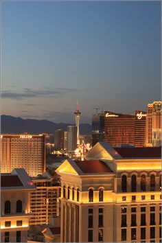 View from the Bellagio Hotel and Casino to Encore and Wynn Casinos – Stratosphere Tower on middle - Las Vegas, Nevada, USA