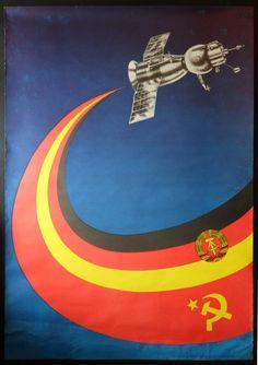 5a95071ca1d Original Vintage DDR USSR East German Soviet Union Soyuz Propaganda Space  Poster   eBay Soviet Art