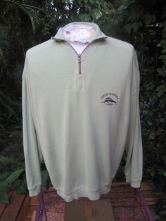Mens Shirt Long Sleeve zippered pullover M pit to pit 27 TOMMY BAHAMA cotton  #TommyBahama #ButtonFront