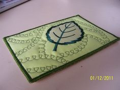 leaf fabric postcard