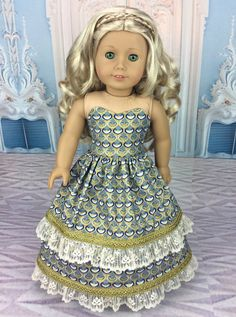 Blue and Gold 18 inch doll dress ball gown by HoschPoschCreations