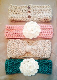 Crocheted winter headbands
