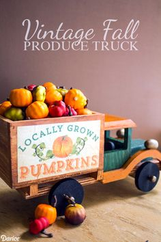 You'll never believe how easy it is to make this super cute miniature Vintage DIY Fall Truck! It's a perfect Autumn accent for a bookshelf or mantle.