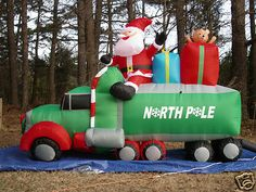 new 9 long lighted christmas santa 18 wheeler truck airblown inflatable blow up ebay