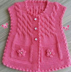 Baby Vest Knit Baby Dress Knitted Baby D - maallure Knit Baby Dress, Knitted Baby Clothes, Knitted Hats, Baby Cardigan Knitting Pattern Free, Baby Knitting Patterns, Crochet Patterns, Knitting Blogs, Free Knitting, Crochet For Kids