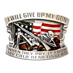 SOLD OUT I Will Give Up My Gun Indiana Metal Craft Pewter Western Color Belt Buckle