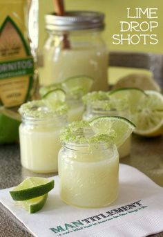 Lime Drop Shots are the perfect shot for Cinco de Mayo- made with fresh lime juice (the whole lime!)