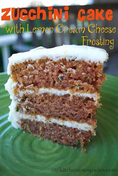 Zucchini Cake with Lemon Cream Cheese Frosting: make it before your garden stops mass producing zucchini! Except just use regular cream cheese frosting since I don't like lemon. Just Desserts, Delicious Desserts, Yummy Food, Healthy Desserts, Zucchini Desserts, Summer Desserts, Yummy Yummy, Delish, Sweet Recipes