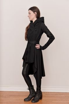 Image of Tournure Hooded Cashmere Wool Coat w/Blistered Leather Sleeves