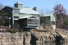 This restored old barn is located in a very cool setting on the water.