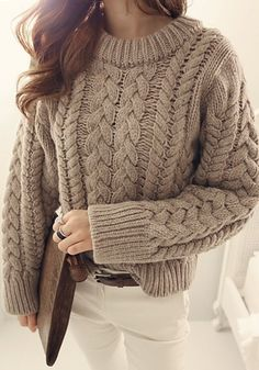Love Oversized Knits! Cozy Dark Khaki Plain Cable Print Pullover Sweater #Cozy #Oversized #Knit Cable #Sweater #Fashion