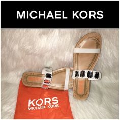 """Michael Kors White Jeweled Sandals SZ.5 SGW10 - Michael Kors Sandals Size 5 - Item Description Gemstone accented sandals Maker/Markings Michael Kors Size 5 / Condition: Appears to be in good condition, some signs of wear on soles / Approximate Measurements Toe to Heel:10"""" Width: 3.5"""" Color: White / Material: Leather Upper - runs big (fits closer to 6-6.5 in my opinion -- make sure to check out measurements) Michael Kors Shoes Sandals"""