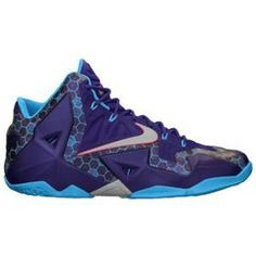 Nike LeBron XI - Mens Basketball Shoes - Lebron James Court Purple/Vivid Blue/Reflective Silver