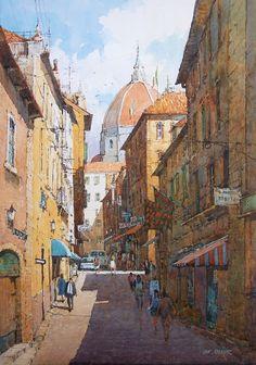 Ian Ramsay Watercolors - Street, Florence ,Italy