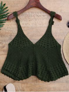 Laser Cut Crochet Tank Cover Up - GREEN ONE SIZE