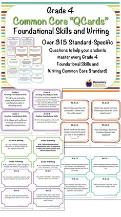 """Grade 4 """"QCards"""" - Common Core Task Cards for helping grade 4 students master Reading: Foundational Skills and Writing Standards"""