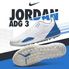 Fresh Drop: Nike #Jordan ADG 3💧 . . Shop the new #Nike Jordan ADG 3 golf shoes in White/ Metallic Silver /Army Blue👟 __ #NikeGolf #golfshoes #NikeJordan #jumpman #eGolfMegastore Air Zoom, Nike Golf, Golf Shoes, Running Shoes, Adidas Sneakers, Jordans, Army, 3 Shop, Metallic
