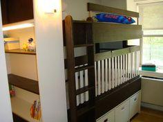 Custom bunk bed with crib underneath.