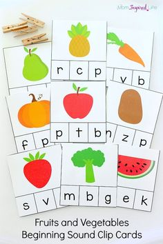 These fruits and vegetables beginning sound clip cards are a great addition to lessons on healthy habits and nutrition. Plus, they work on fine motor skills too! To find out more about we use these, check out this detailed post about them. *Having issues getting the printable? Please check out these helpful hints! If they don't work, please contact me.