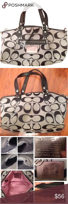 COACH POPPY SIGNATURE SATEEN LUREX ROCKER 16295 COACH POPPY SIGNATURE SATEEN LUREX ROCKER 16295  PreLoved   Missing swing tag fob  Missing Crossbody  Color silver moonlight  Liner dirty and whole  Scuff on poppy tag  Dark areas on fabric  Handles have very little wear   Stitching tight Coach Bags