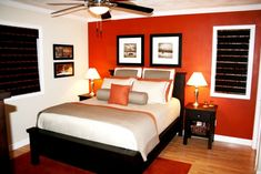 Burnt orange accent wall for my bedroom.. loving it! Found it on Cafemom.com