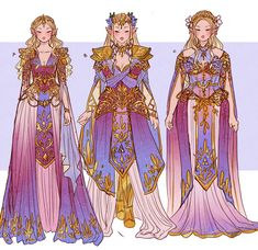 I completed Navi for Patreon so now I'm working on Princess Zelda for everyone outside of Pateon! I went with her traditional colours… Fantasy Dress, Fantasy Art, Character Outfits, Character Art, Color Fantasia, Drawing Clothes, Anime Outfits, Pretty Art, Character Design Inspiration