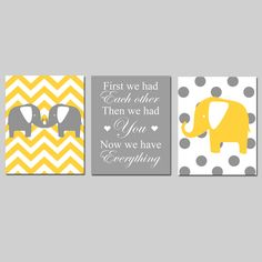 Modern Chevron Elephant Polka Dot Trio - Set of Three 8x10 Nursery Prints - First We Had Each Other, Then We Had You, Now We Have Everything. $55.00, via Etsy.