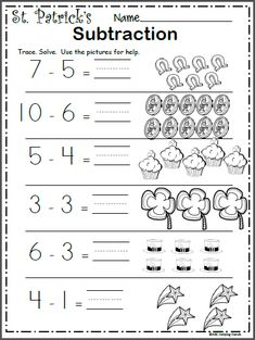 Free St. Patrick's Day Subtraction Worksheet