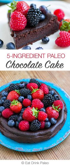 5-Ingredient Paleo Chocolate Cake (Nut-Free, Low-Carb, Gluten-Free)