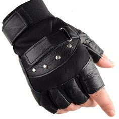 KUYOMENS Men's Cycling Half Finger Genuine Leather Gloves ($9.99) ❤ liked on Polyvore featuring men's fashion, men's accessories, men's gloves, mens mittens, mens mitten gloves, mens leather accessories and mens leather mittens