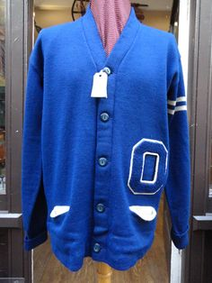 """Vintage 1960s blue white O Letterman varsity college Ivy League button up cardigan sweater named Stan chenille patch chain stitch 46"""" chest by TheDustbowlVintage on Etsy https://www.etsy.com/listing/220655828/vintage-1960s-blue-white-o-letterman"""