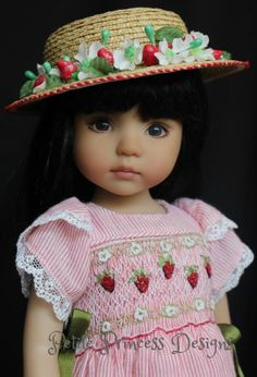 "OOAK Smocked Embroidered Ensemble for Effner 13"" Little Darling Dolls"