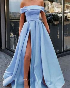 Classy Prom Dress, Fashion A-Line/Princess Sleeveless Off-the-Shoulder Sweep/Brush Train Ruffles Satin Dresses Fashion A-Linie / Princess-Linie Ärmellos Schulterfrei Sweep / Pinsel zug Rüschen Satin Kleider Prom Dresses With Pockets, Straps Prom Dresses, Prom Dresses Blue, Best Wedding Dresses, Satin Dresses, Homecoming Dresses, Women's Dresses, Strapless Dress Formal, Evening Dresses