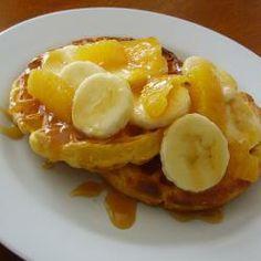 Waffles with Fruit and Caramel Sauce