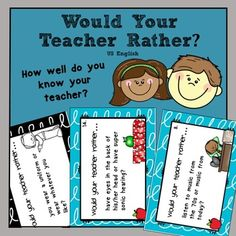 "Free End of the Year Fun Activity - Would Your Teacher Rather? This pack contains 16 ""Would Your Teacher Rather..."" task cards and a recording sheet to use with grades 3 to 6. NOTE: I've had feedback suggesting that these also suit grade 1 and 2 students."