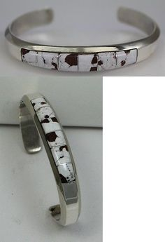 Bracelets 98496: Navajo Indian Bracelet Wild Horse Inlay Wider Cuff Sterling Silver Martha Franci BUY IT NOW ONLY: $112.5