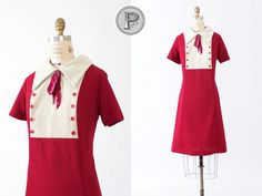1960s dress xl / 60s red white bowed : Mary Lou