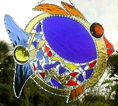 "Blue & Gold Tropical Fish Stained Glass Suncatcher - Decorative Solder Work - 9"" x 10"""