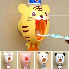 BigNoseDeer Baby Toothbrush Dispensers,Kids Hands Free Toothpaste Dispenser Children Automatic Cartoon Cute Animal Toothpaste Squeezer Good Gift for Children (Tiger) White Bathroom Decor, Bathroom Kids, Kids Bath, Bathroom Colors, Small Bathroom, Bathrooms, Baby Toothbrush, Toothbrush Holder, Toothpaste Squeezer