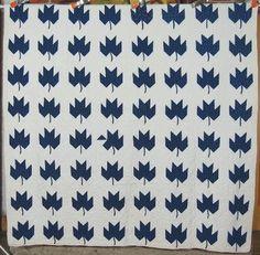 1890s Indigo Blue White 19th Century Maple Leaf Antique Quilt Great Design | eBay