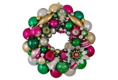 Vintage Green, Pink  & Silver  Ornament Wreath