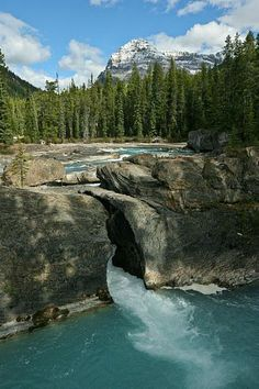Natural Bridge Arches Over the Kicking Horse River in Yoho National Park, BC, in the Canadian Rockies.
