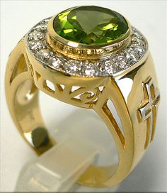 Christian Peridot Yellow Gold Men's Ring    14K Yellow gold over sterling silver peridot rings.