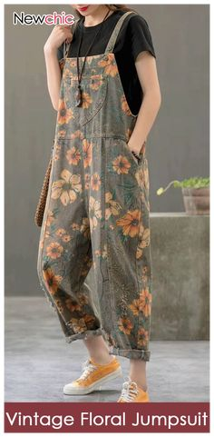 Vintage Print Floral Straps Side Pockets Loose Pockets Denim Jumpsuits Source - Vintage Print Floral Straps Side Pockets Loose Pockets Denim Jumpsuits Source by newchicstylist # - Hijab Fashion, Boho Fashion, Fashion Dresses, Womens Fashion, Fashion Design, Fashion Trends, Floral Fashion, Fashion Vintage, Fashion Ideas